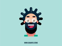 Flat Design Character, Man Portrait Illustration