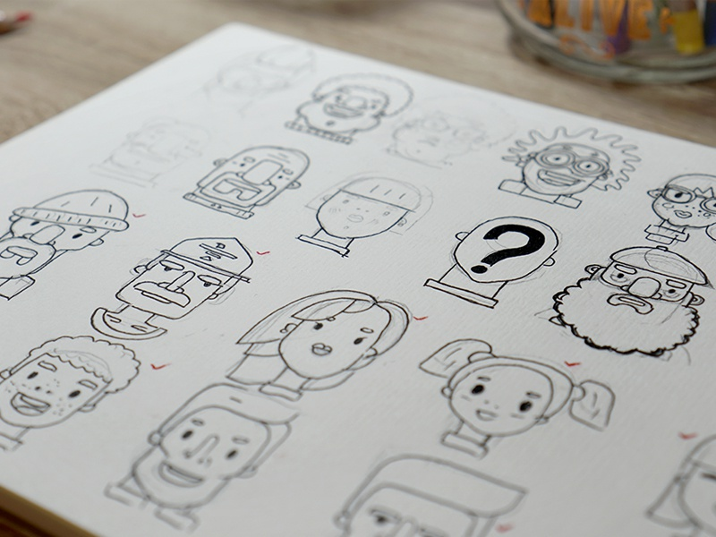 I Will Choose Just The Best One For 100 Flat Design Characters Vol2 D Today Am Sharing With You Sketches My Portraits Illustrations