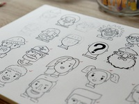 Flat Design Character Sketches - Drawn Illustrations