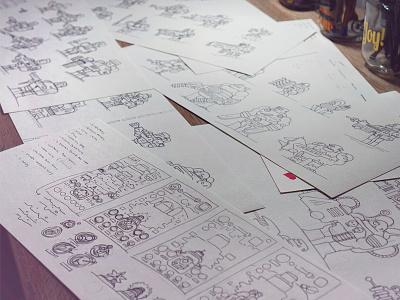 Sketches for Flat Game Design sketches sketch flat bosses character flat design games game assets game asset game art game game app game animation game designer game design