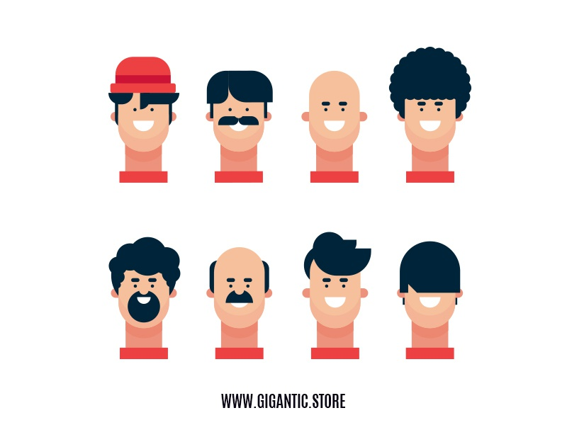 8 Hairstyles For Flat Design Character Illustration By Gigantic