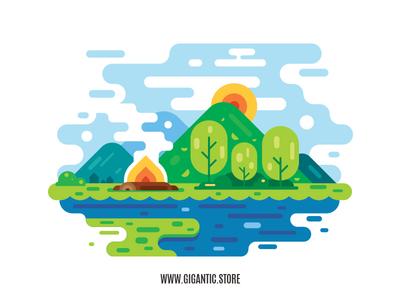 Flat Design Landscape Illustration in Adobe Illustrator cc 2019