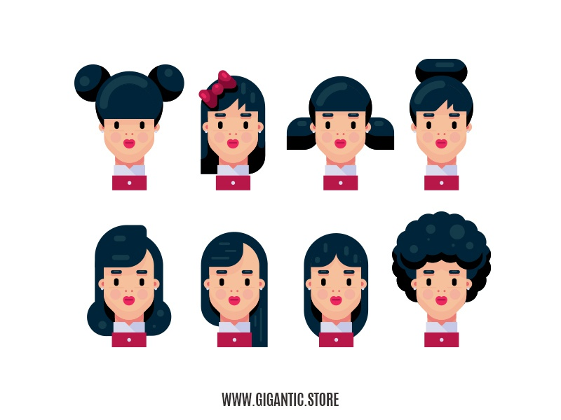 8 Hairstyles for Flat Design Character Illustration by