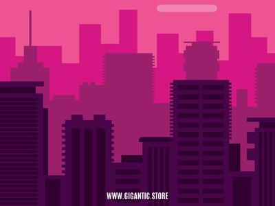 Flat Design City Landscape Background Illustration