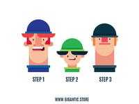 3 Flat Design Characters Illustration