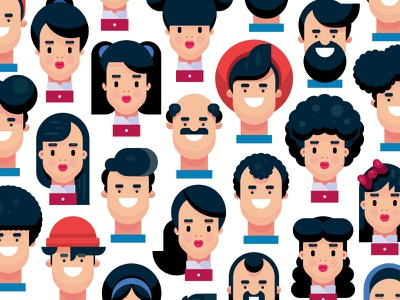 40 Hairstyle Flat Design Illustrations art people draw characters vector art gigantic character design vector person flat cartoon design character illustration flat design