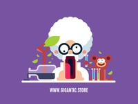 Flat Design Character Illustration, Crazy Scientist and Monkey