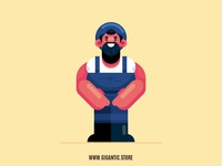 Flat Design Character Illustration in Adobe Illustrator, Farmer
