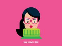 Flat Design Girl Character Illustration in Adobe Illustrator