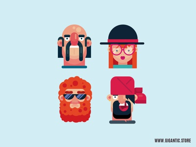 Flat Design Character Illustrations, Male and Female motion design graphic design cartoon design flat design character