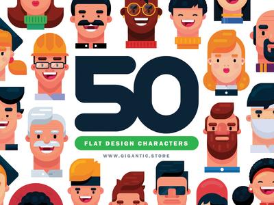 50 Flat Design Portraits in Adobe Illustrator