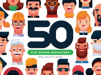 50 Flat Design Portraits in Adobe Illustrator