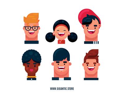 Flat Design Teenage Character Illustrations in Adobe Illustrator