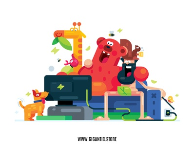 Flat Design Character & Animals Illustration