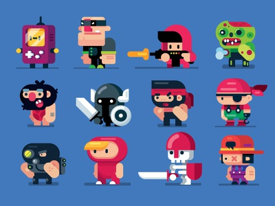 Game Design Characters, Flat Design Illustrations animation people art draw characters vector art gigantic illustrator game design character design vector person drawing man flat cartoon design illustration flat design character