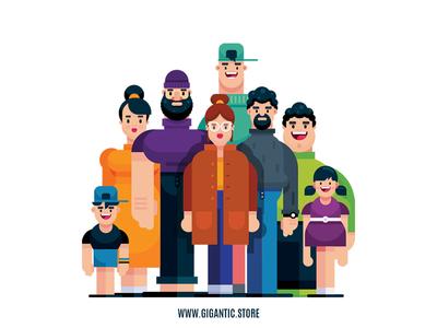 Flat Design Characters Illustration In Adobe Illustrator CC
