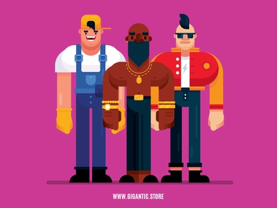 24 flat design characters illustration from different fields
