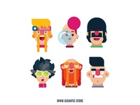 Flat Design Characters From The 100 PACK