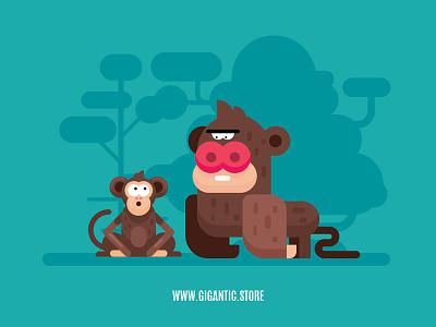 Monkeys Illustration, Flat Design Animals character design vector drawing flat cartoon design character illustration monkeys monkey animals flat design