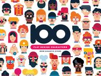 100 Flat Design Characters