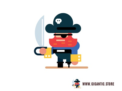 Pirate Flat Design Digital Illustration, Game Character