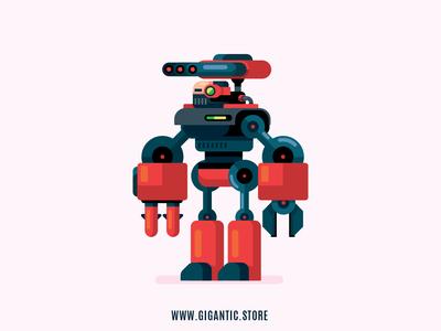 Robot Flat Design Digital Illustration, Game Character