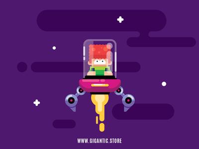 Space Boy Flat Design Digital Illustration, Game Character