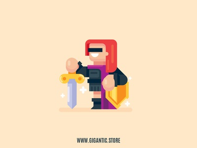 Knight Flat Design Digital Illustration, Game Character