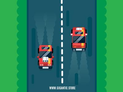 RPG Car Flat Design Digital Illustration, Game Design