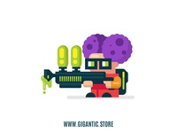 Flat Design Gadget Poison Man Vector-Digital Illustration