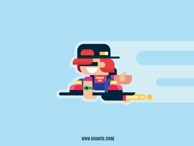 Supr School Kid, Video Game Character Design Art In Illustrator