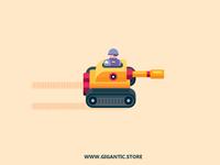 Flat Design Character Illustration In The Tank, Digital Art