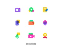 Flat Design Colorful Icons Set Illustration, Web Design, UI, UX