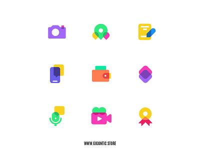 Flat Design Colorful Icons Set Illustration, Web Design, UI, UX ui web design webdesign branding brand website web landing page logo design logodesign logotype logos logo symbols symbol icon design iconography icon set icons icon