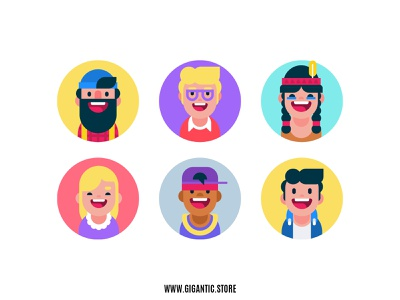 Flat Design Avatar Icons avatar design avatardesign avatar icons avatars avatar gigantic vector art cartoon vector man character design design illustration character flat design