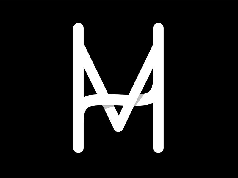 Mediahub Monogram branding logo monogram icon media mobile ios black and white flat