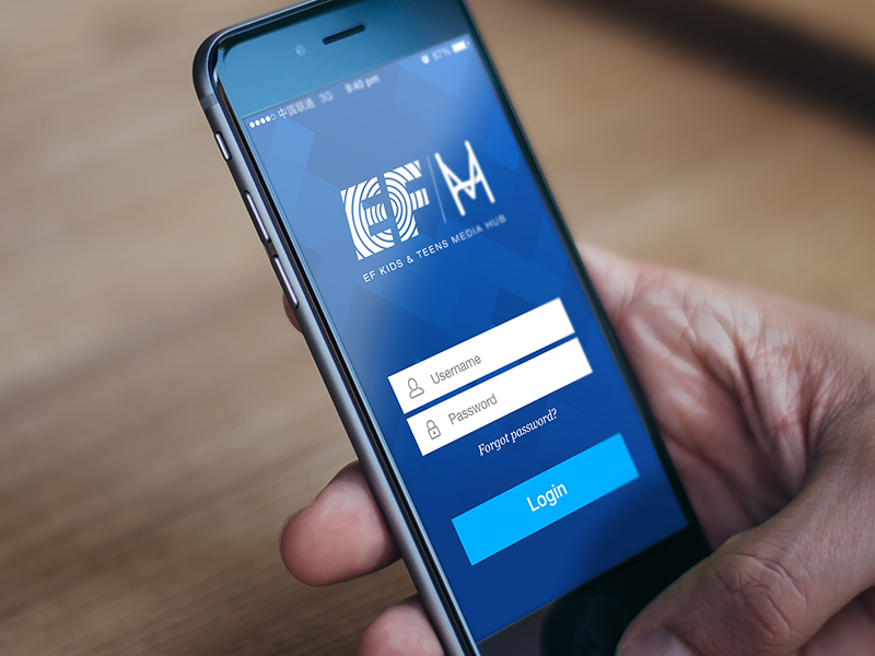 EF MediaHub mobile app education ios iphone ui ux interactive china login monogram flat