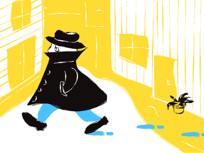 The Hat Man black detective hat blue yellow