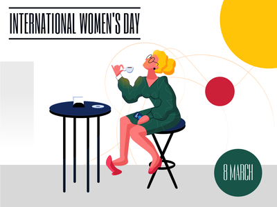 International Women's Day 2021 illustration red person yellow girl 8march internationalwomensday woman