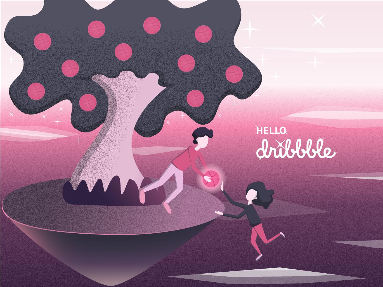 Hello Dribbble pink first shot illistration hello dribbble