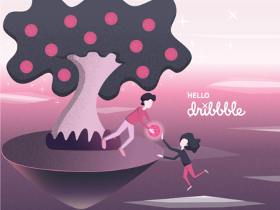 Hello Dribbble pink first shot illistration hello dribbble