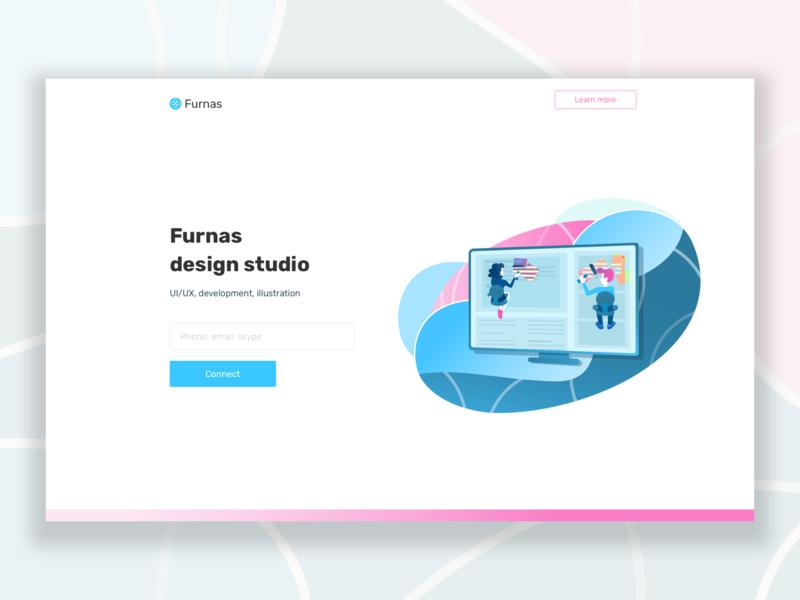 Main screen furnas.ru main screen pink blue design ui illustration