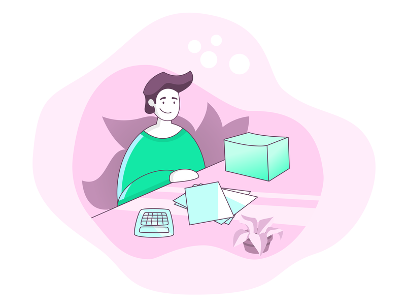 Accountant green person pink illustration