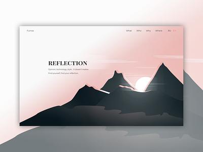 New main screen web studio Furnas.ru sunset sunrise mountains main screen ui design