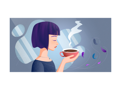 Purple Girl illustration blue person girl cup coffee purple