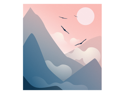 The Sun and Mountains nature sky birds mountains blue pink illustraion