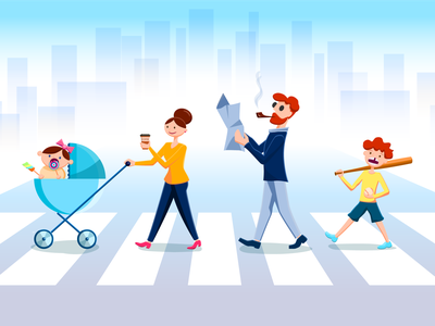 Family walking person blue illustration baby child dad mom red guy children family