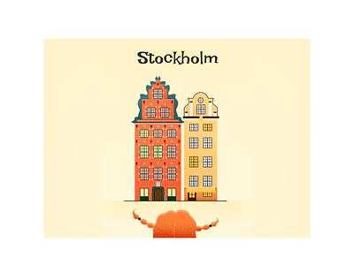 Stockholm Postcard orange yellow building postcard pippi girl sweden stockholm illustration