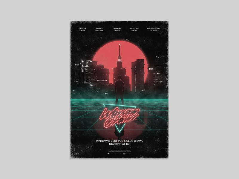 Warsaw Crawl - official poster 1980s color retrowave neon retro branding agency brand identity branding design branding visual design key visual photoshop art photoshop vector art illustration art illustration illustrator poster poster designer poster design