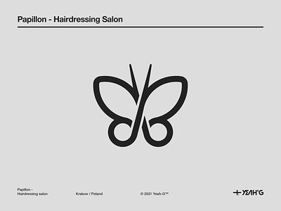 Papillon - Hairdressing Salon barbershop barber haidressing butterfly minimal logomark logo design logodesign branding designer branding design logotype logo designs helvetica golden ratio logomarks logo designer logo logos golden ratio logo black and white